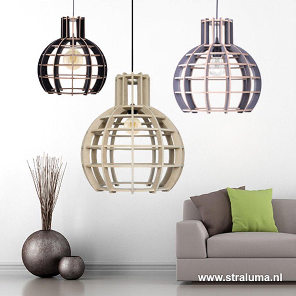 Zwart/hout hanglamp industrie-scandi