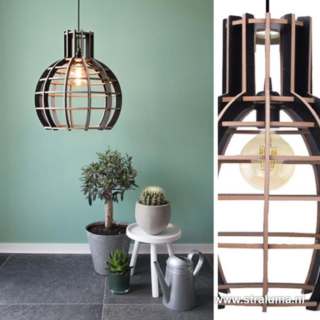 Moderne zwarte hanglamp hout bol 40 cm