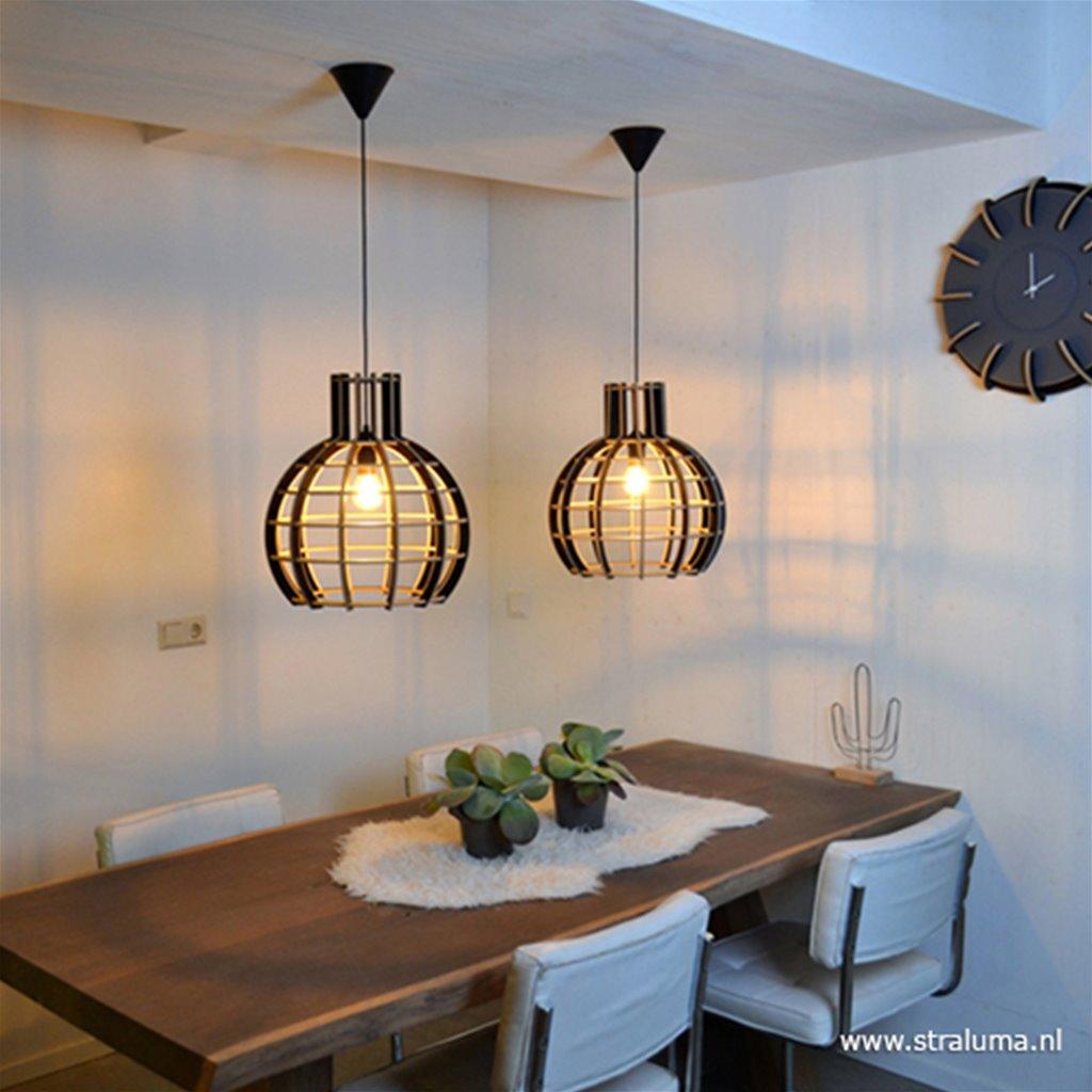 Zwart houten hanglamp 50cm globe