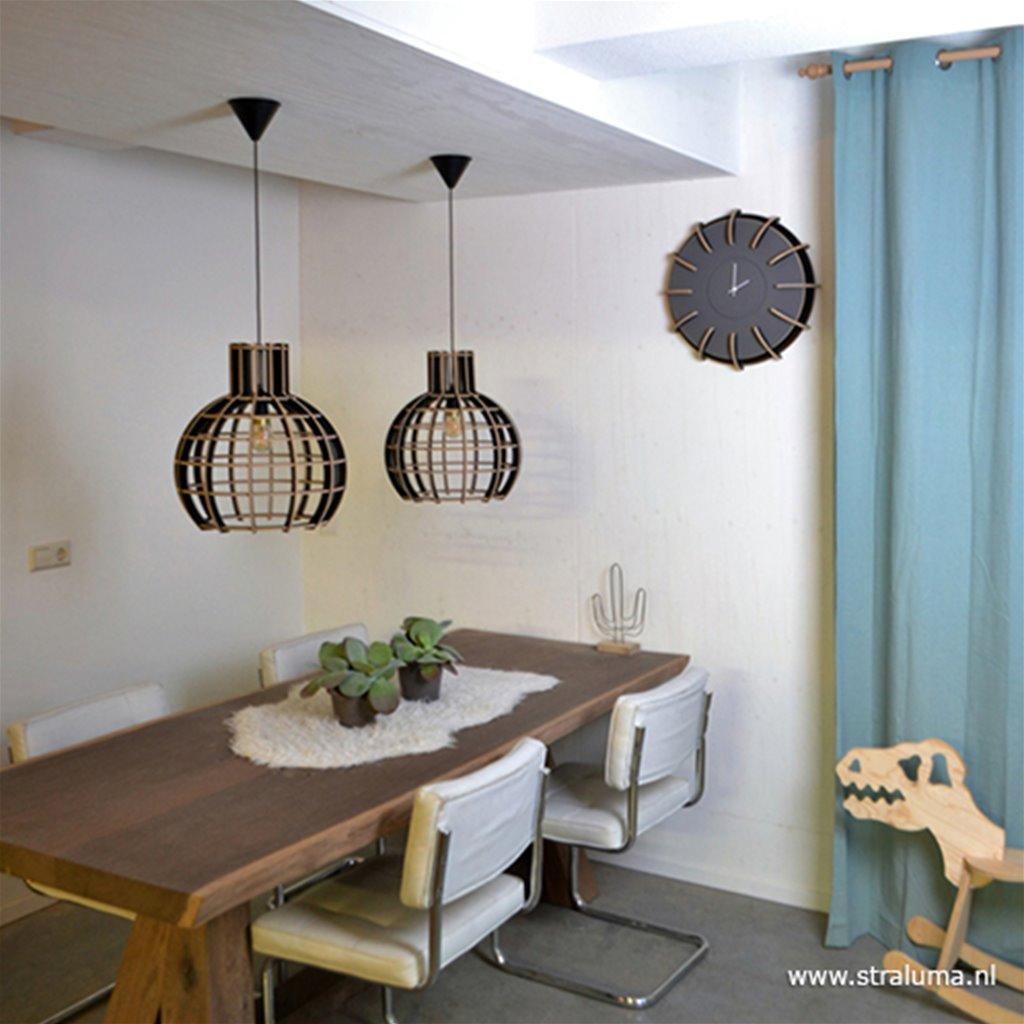 Grote hanglamp Globe hout/zwart 70cm