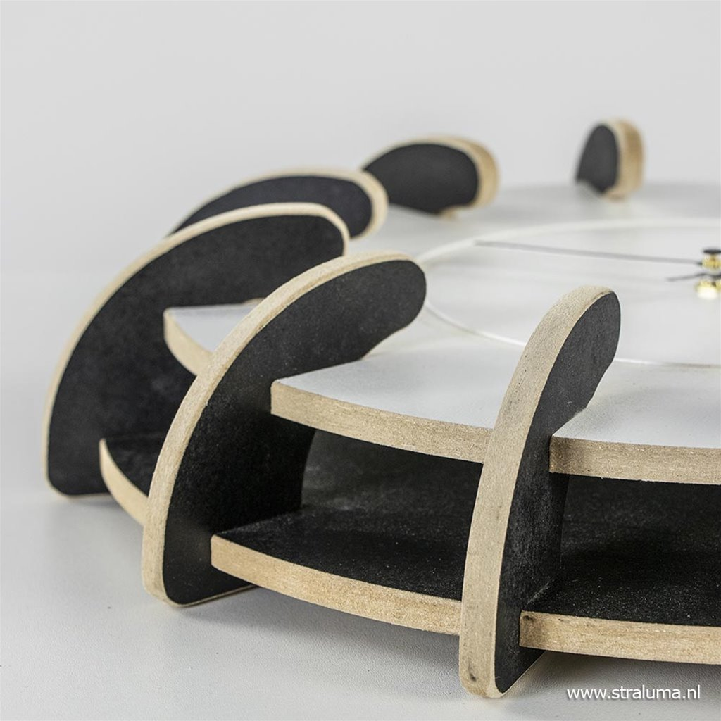 Houten wandklok Lingehof zwart wit 40 cm
