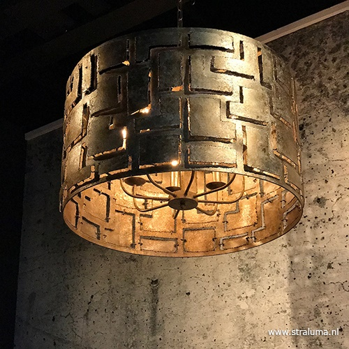 Hanglamp cilinder 55cm oud zilver