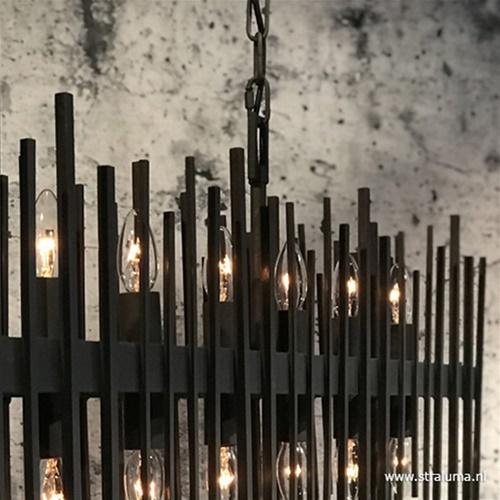 Robuuste eettafelhanglamp zwart metaal