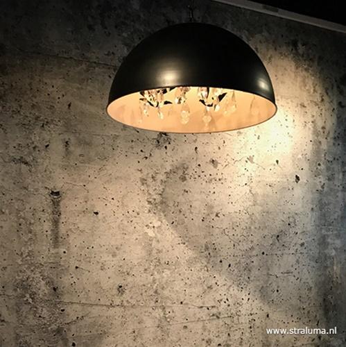 Grote koepel hanglamp met kristal Ø90 cm