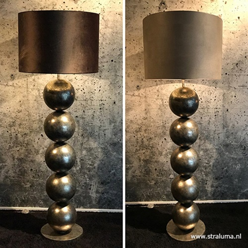 Luxe vloerlamp bollen oud goud excl. kap
