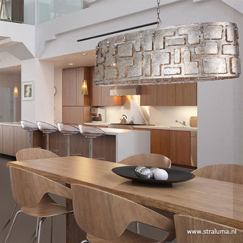Grote design eettafelhanglamp old zilver