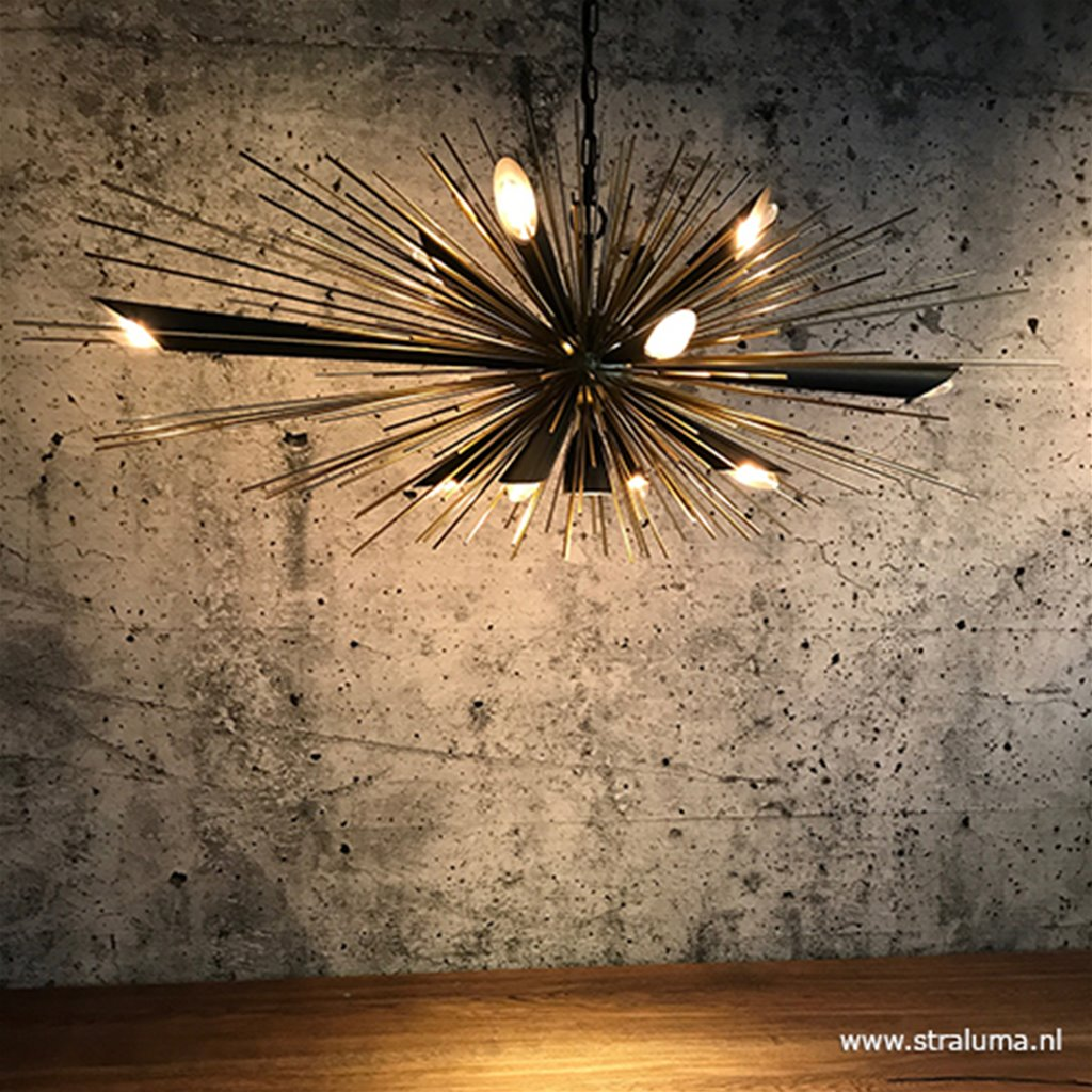 Hanglamp sprieten zwart/goud