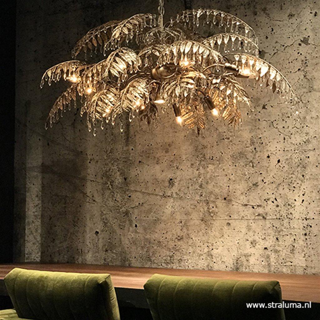 Luxe eettafelhanglamp palm oud zilver