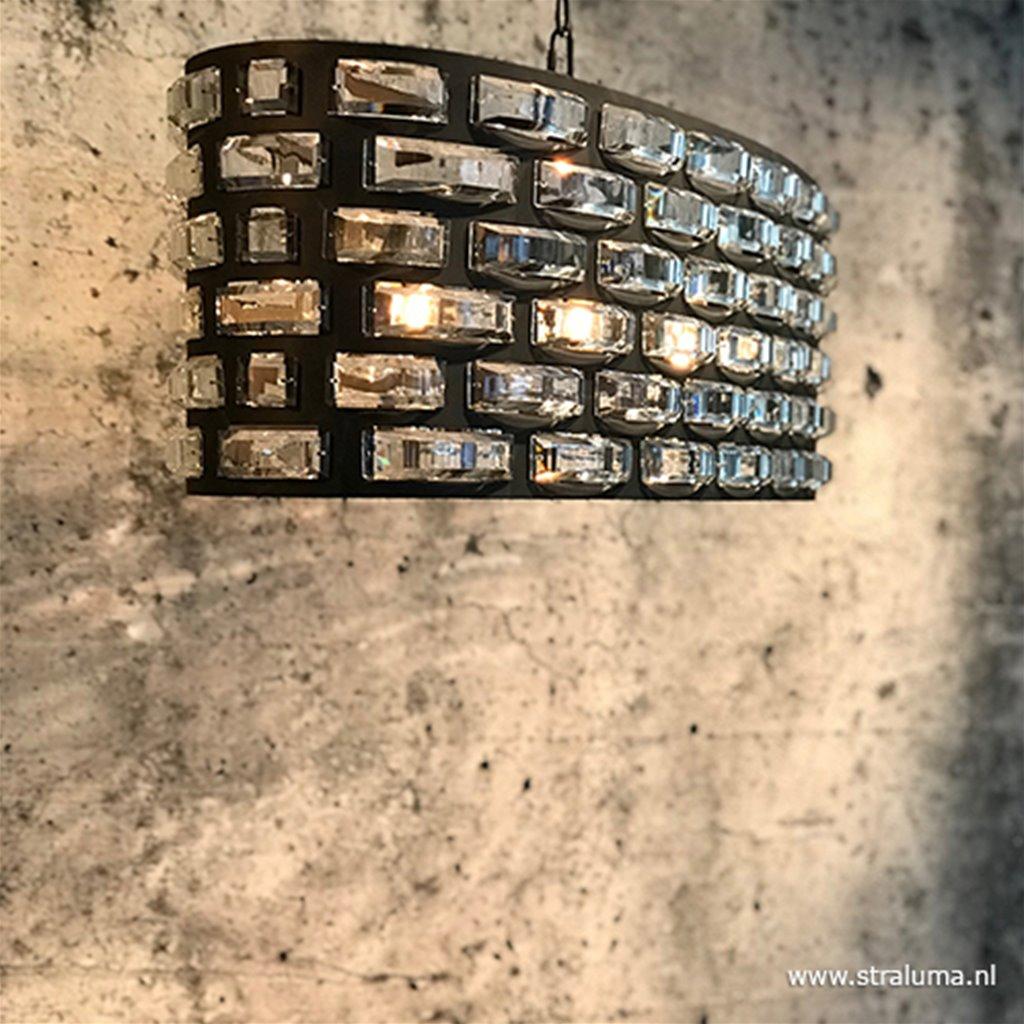 Hanglamp ovaal zwart met facet glas