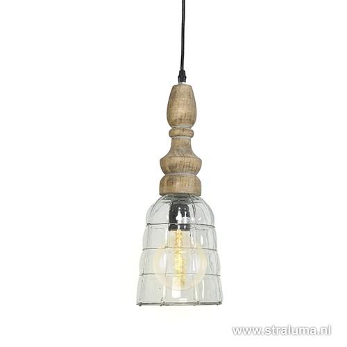 Light Living hanglamp Sacha hout/glas