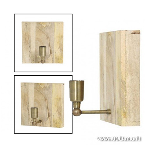 Light & Living wandlamp hout Buxton