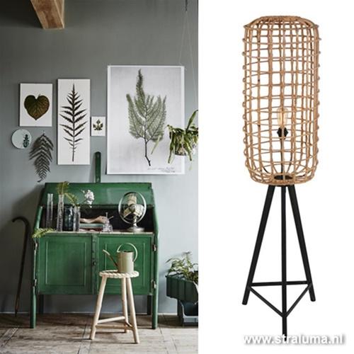 Botanische vloerlamp rotan woonkamer