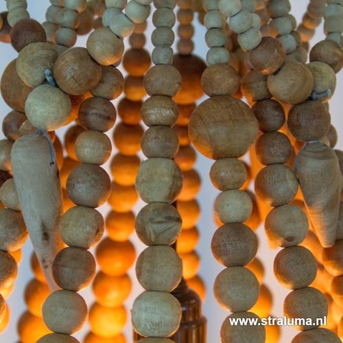 Landelijke kralen hanglamp hout klein