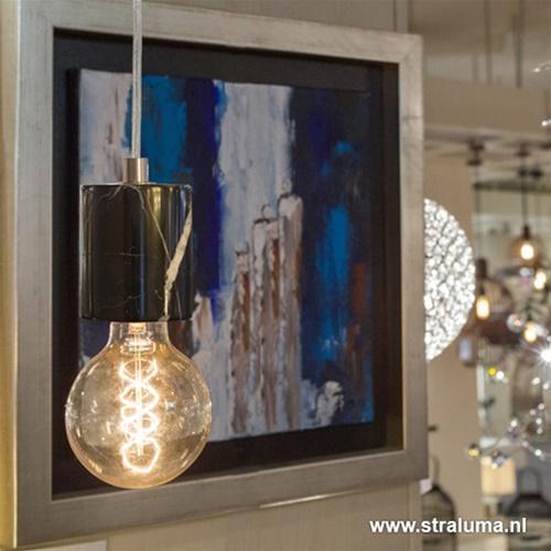 Trendy zwart marmeren pendel-hanglamp