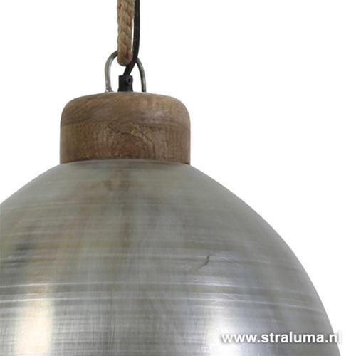 Landelijke hanglamp staal hout en touw