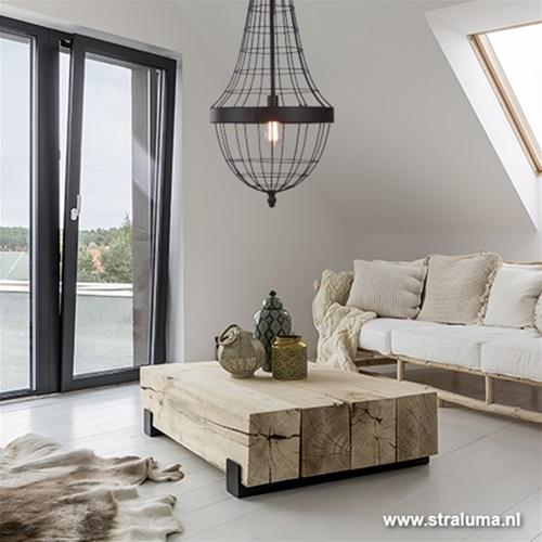 Landelijke kroonluchter-hanglamp bruin