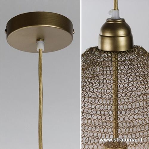 Metalen gaas hanglamp Nikki mat goud