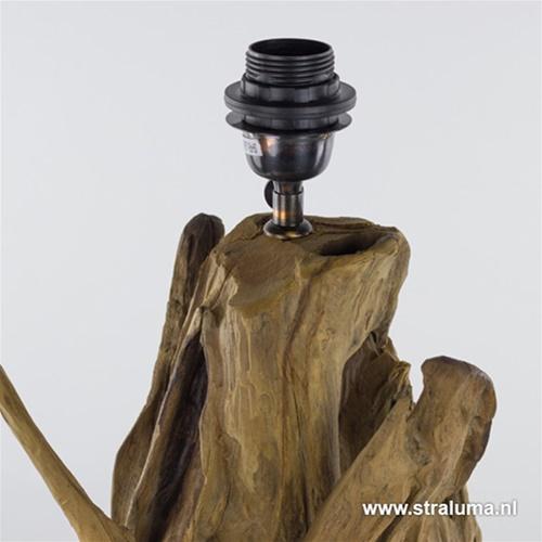 Light & Living lampvoet hout + zwart