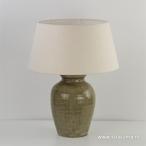 Olijfkleurige vaaslamp-lampvoet steen