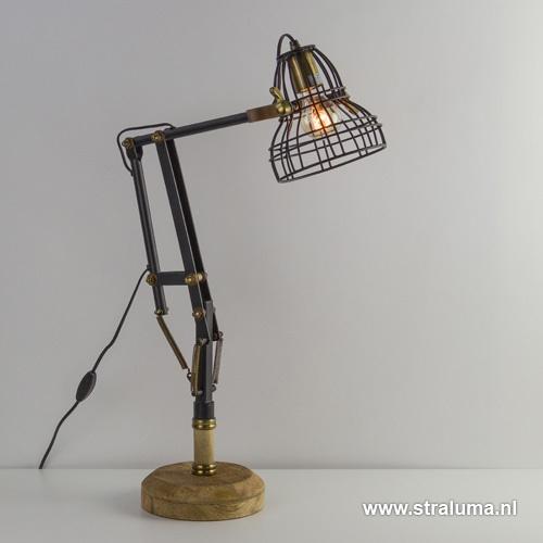 Bureaulamp Jackson zwart/hout industriee