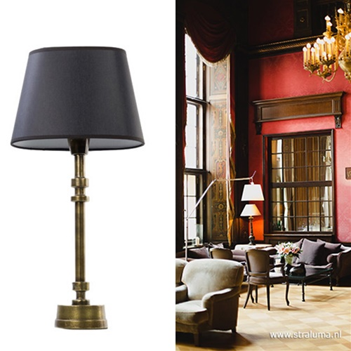 Klassieke lampvoet-tafellamp brons