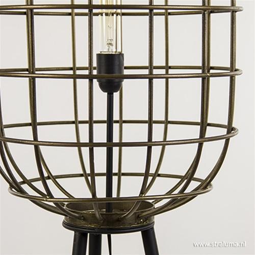 Metalen kooi vloerlamp oud-brons L&L