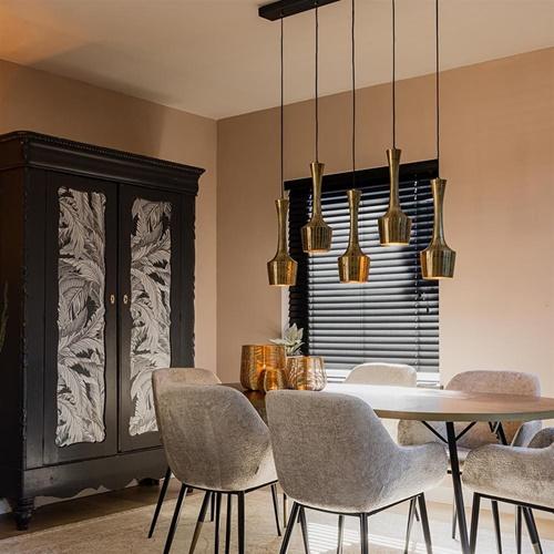 Hanglamp 5-lichts antiek goud met zwart