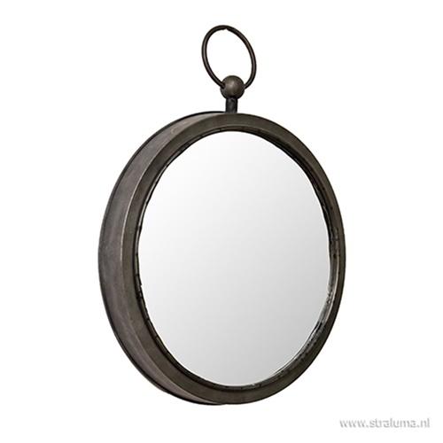 Ronde spiegel zink/grijs groot 46 cm
