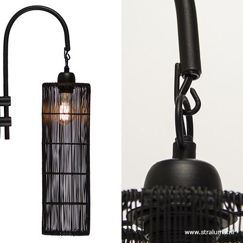 Mat zwarte wandlamp draad L&L