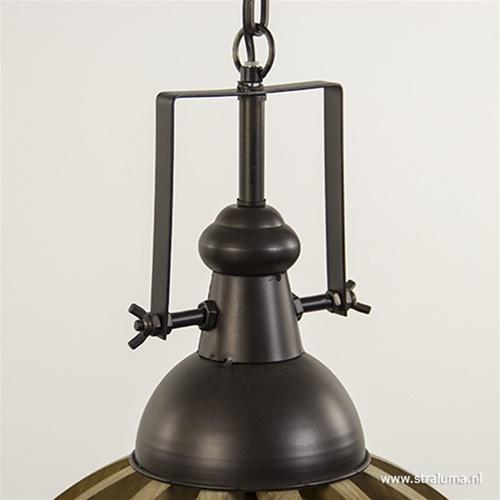Landelijk hanglamp Djem hout/zink