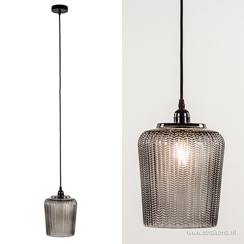 Light & Living hanglamp Martina glas smokey 20cm