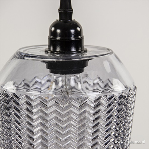 Hanglamp Lorina 14cm ribglas grijs