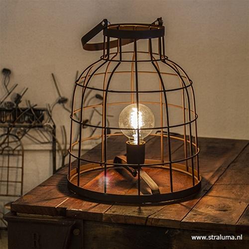 Landelijke tafellamp roestbruin
