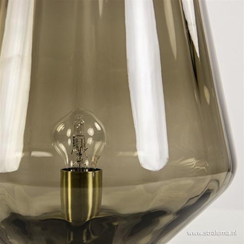 Glazen tafellamp bruin/smoke met brons