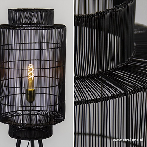 Trendy draad-vloerlamp Gruaro zwart