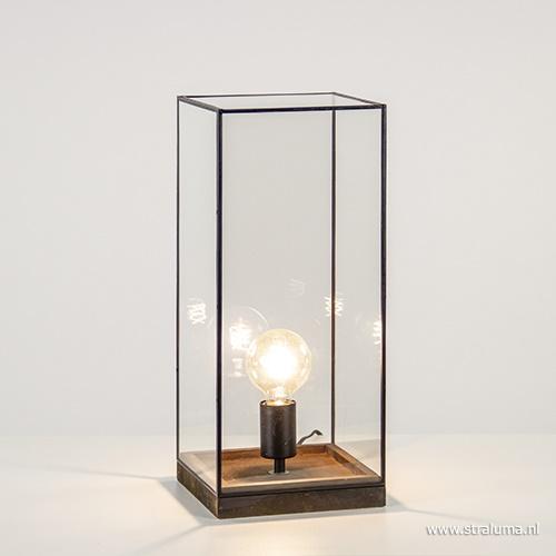 Landelijke tafellamp Askjer glas-hout