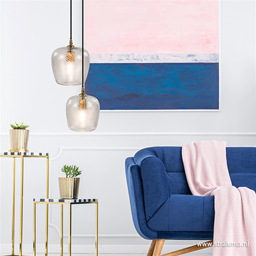 Hanglamp Dyenna helder glas met brons