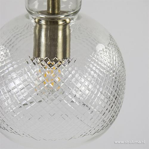 L&L hanglamp Destiney glas/ brons