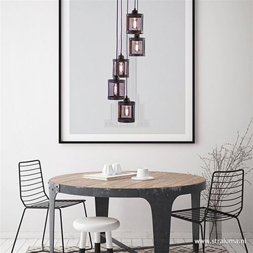 Ronde 5-Lichts hanglamp Laetitia zwart