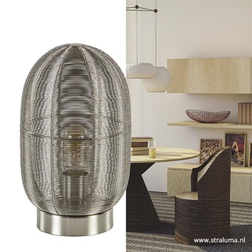 Moderne tafellamp Ophra nikkel draad