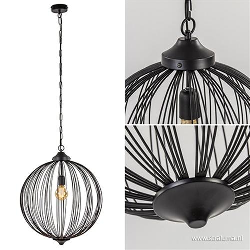 Hanglamp bol Mala zwart open frame 50cm