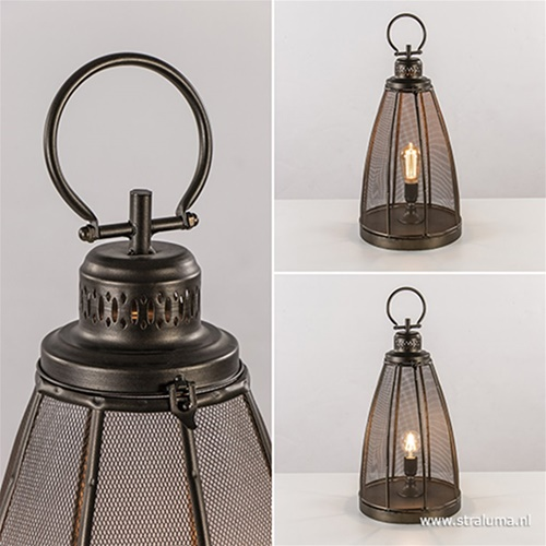 Sfeervolle tafellamp Pruez brons L&L