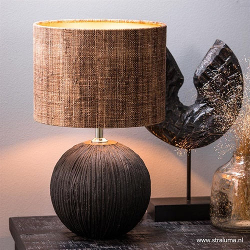 Lampvoet Caia zwart keramiek met chroom