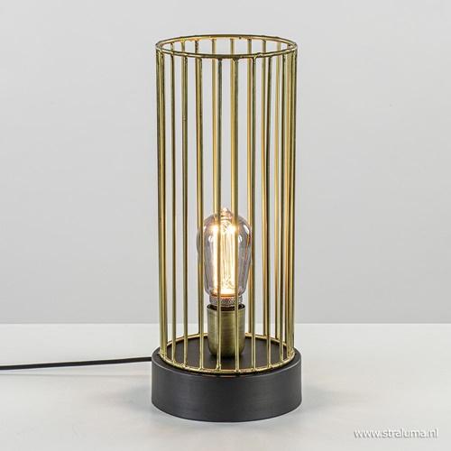 Light & Living tafellamp Jorim zwart met brons