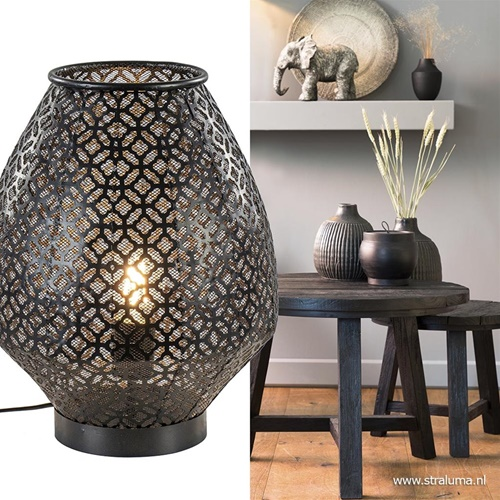 Light & Living tafellamp Selkan mat zwart