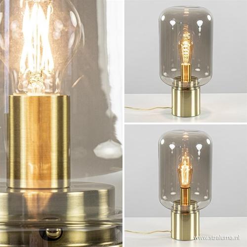 Tafellamp Arturan messing + smoke glas