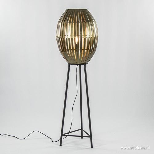 Vloerlamp Kyomi brons met zwart