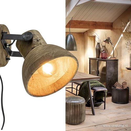 Light & Living wandlamp Ilanio hout met metaal