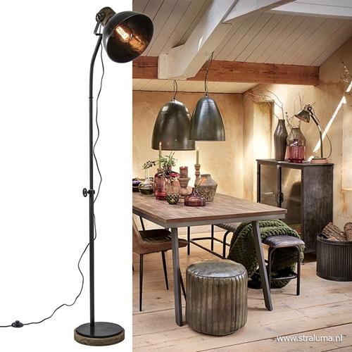 Industrieel landelijke vloerlamp Jody zink met hout