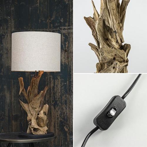 Houten lampvoet Ikal Light and Living exclusief kap